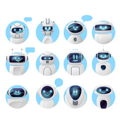 Chat bot icons chatbot robots with message bubble vector