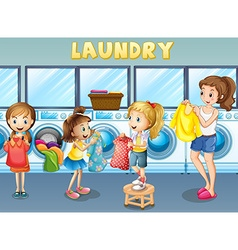 Children doing laundry together vector image