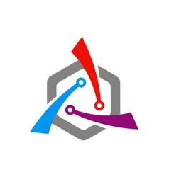 circle shape technology logo vector image