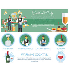 cocktail party catering service web page template vector image