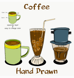 coffee hand drawn on separate layer vector image