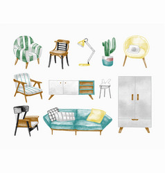 collection of stylish comfortable modern furniture vector image
