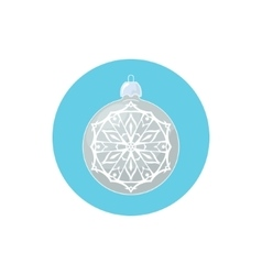 Colorful Icon Silver Ball with Snowflake vector image