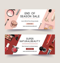 Cosmetic banner design with highlighter mascara vector