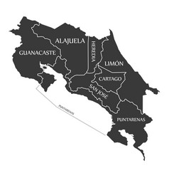 Costa rica map labelled black vector