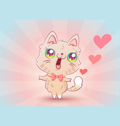 cute kitty with hearts vector image