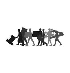 Delivery man carry boxes moving service silhouette vector