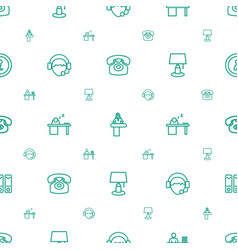 Desk icons pattern seamless white background vector