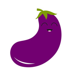 Eggplant aubergine with leaves icon violet color vector