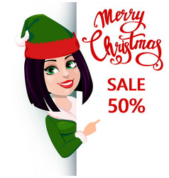 Elf woman standing behind a sign and showing on vector