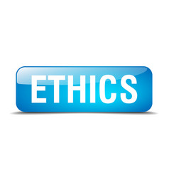 Ethics blue square 3d realistic isolated web vector