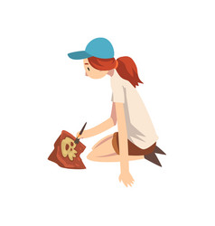 Female archaeologist sitting on ground and vector