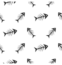Fishbone monochrome seamless pattern vector image