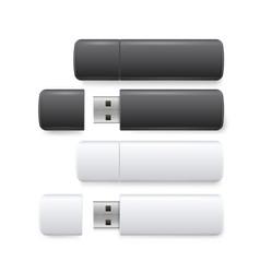 Flash drive realistic set computer storage device vector