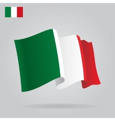 Flat and waving Italian Flag vector