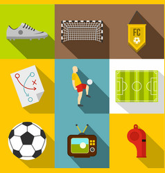 Football icon set flat style vector