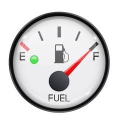 Fuel gauge full tank round car dashboard 3d vector
