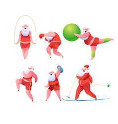 funny flat santa doing sports set vector image