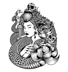 Geisha naga lotus vector