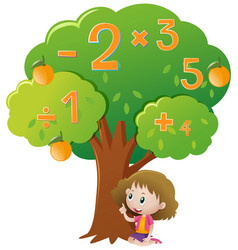 Girl and numbers on the tree vector
