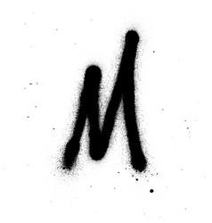 Graffiti thin m font sprayed in black over white vector