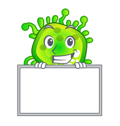 Grinning with board character microbe bacterium on vector
