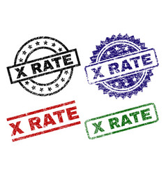 Grunge textured x rate seal stamps vector