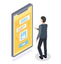 guy stands in front huge smartphone screen vector image