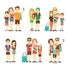 Happy couple family people tourists vector image