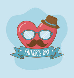 happy fathers day card with mustache and glasses vector image