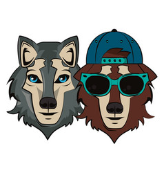 hipster wolfs cool sketch vector image