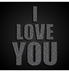 I love you valentine day silver sequins vector