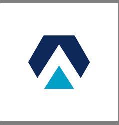 initials a hexagon logo template icon vector image