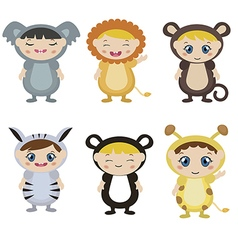 Kids dressed as animal cute costume vector image