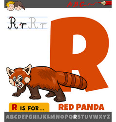 Letter r worksheet with cartoon red panda animal vector