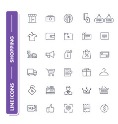 line icons set shopping vector image