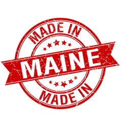 Made in maine red round vintage stamp vector