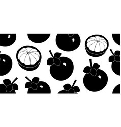 mangosteen seamless pattern hand drawn fruit vector image