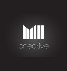 Mi m i letter logo design with white and black vector