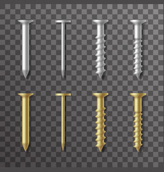 Nails and screws stainless steel and brass repair vector