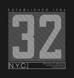 new york number typography graphics for t-shirt vector image