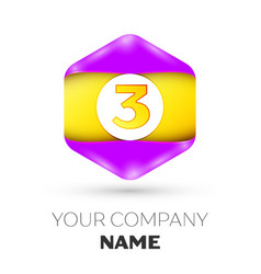 Number three logo symbol in the colorful hexagonal vector