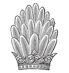 panache as a crest vintage engraving vector image