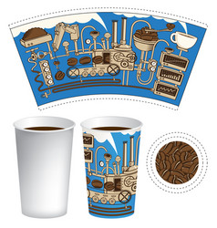 paper cup for hot drink with a coffee machine vector image