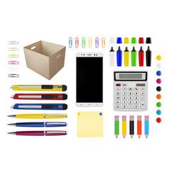 Pens pencils paper clips calculator buttons vector