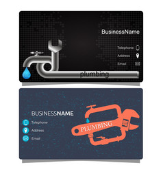 Plumbing business card vector