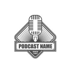 podcast logo design template vector image