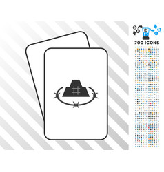 Prison fortress cards with bonus vector