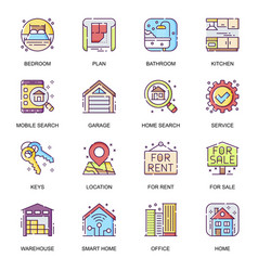 real estate flat icons set bedroom vector image