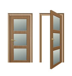 realistic different opened and closed brown vector image